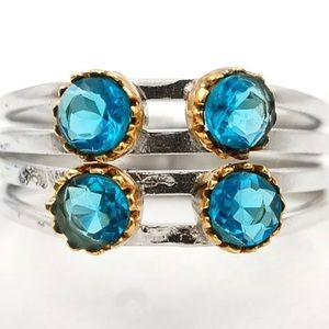 Jewelry - Two Tone Blue Topaz 925 Ring Size 8